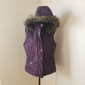 NY&Co. Purple Sleeveless Parka with Faux Fur Hood